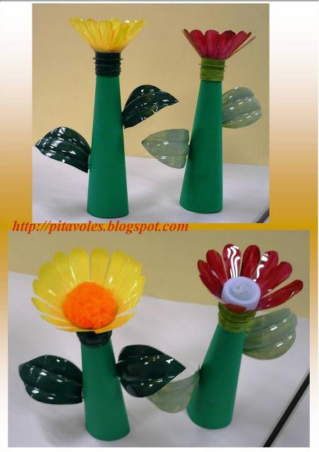 flors botelles plastic